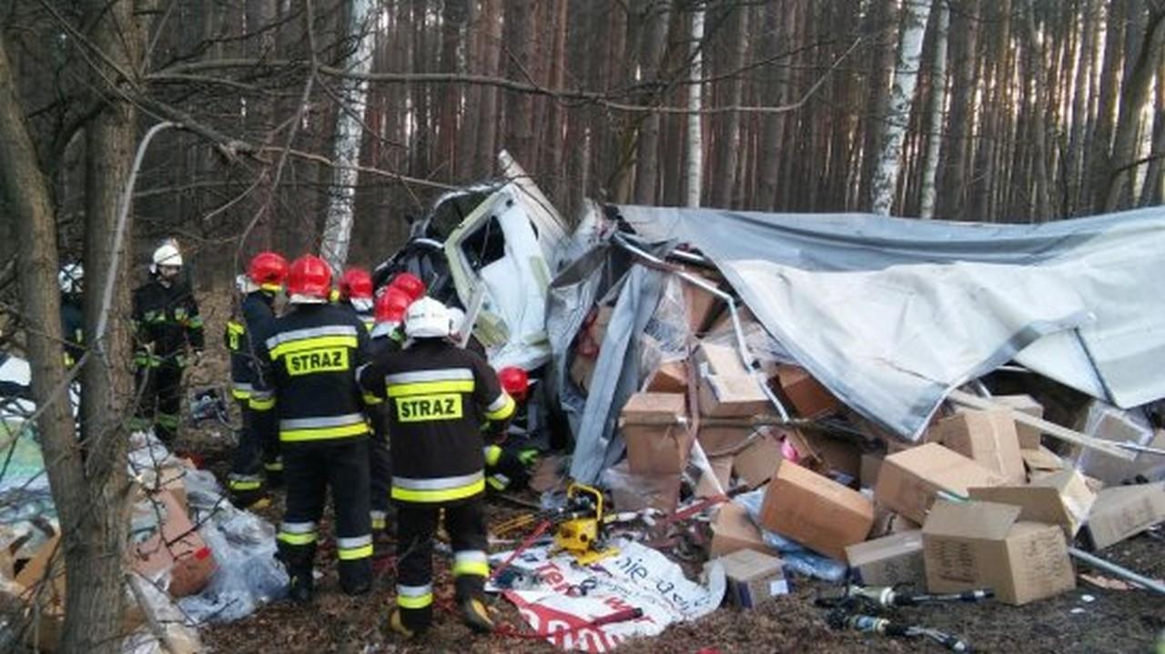 Nowy Tomyśl - Ciężarówka roztrzaskała się w przydrożnym lesie