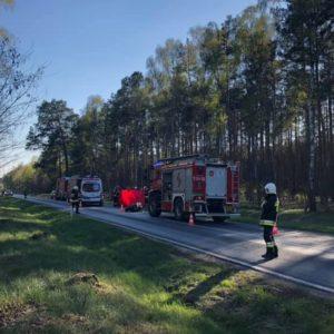 Bardzo niebezpieczny wypadek motocyklisty na DW302 między Borują Nową a Kuźnicą Zbąską.