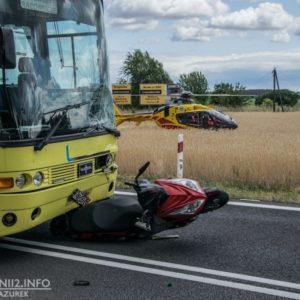Śmiertelne zderzenie motocykla z autobusem na DK32! [AKTUALIZACJA, FILM]