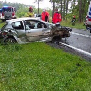 Nowy Tomyśl - Porażyn groźny wypadek na DW307